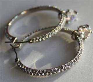 NWT Juicy Couture Sparkling SILVER CRYSTAL Large PAVE HOOP EARRINGS w