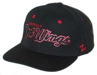 DETROIT RED WINGS NHL HOCKEY VINTAGE BLACK HEADLINER SNAPBACK HAT/CAP