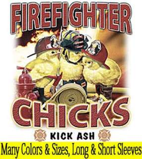 FUNNY Firefighter Chicks Ash T Shirt~Front/Back S 3XL
