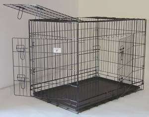 42 3 Door Pet Folding Dog Crate Cage Kennel w/ABS Tray 814836017503