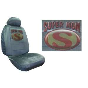 Car Truck SUV Super Mom Print Seat Covers 2 Silver Grey Universal Low
