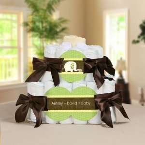 Elephant Personalized Square   2 Tier Diaper Cake   Baby Shower Gift