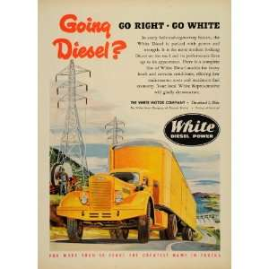 1951 Ad White Diesel Power Trucks Haul Cleveland Ohio   Original Print