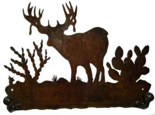 Western Metal Art Coat/Hat Hanger  Deer Cabin Decor