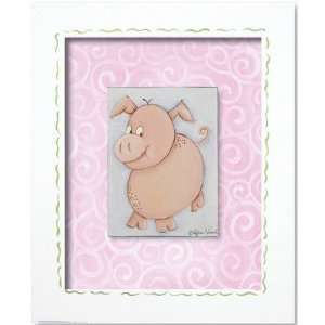 Doodlefish DB503 Western Pig Framed Giclee Wall Art Color: Green Check