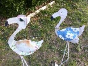 Metal Lot Of 5 Iron Flamingo Stork Crane Yard Art Garden