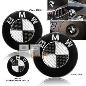 02 09 BMW E65 Hood/Trunk/Steering Wheel Emblem   Black/Real Carbon