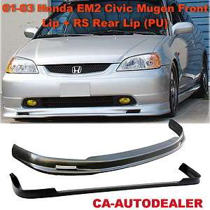 03 Civic EM2 JDM Mugen Front + RS Rear Bumper Lip Kit 4 drs PU