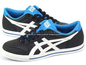 Asics Aaron Black/White/Blue Mens Classic Leather Casual Low Sneaker