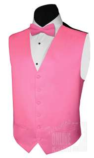 New Mens Tuxedo Suit Vest and Bow Tie HOT PINK Satin