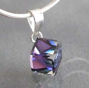 6mm Purple Blue Crystal Cube Sterling Silver Pendant