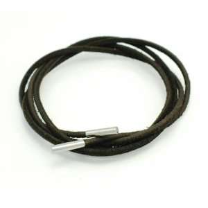 Leather Necklace With Steel Tube Caps  Tie It Yourself Jewelry