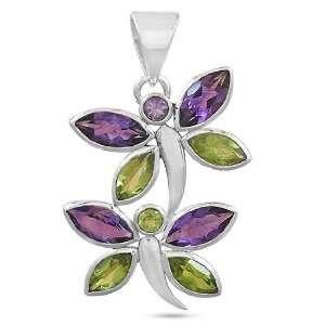 925 Sterling Silver Amethyst Peridot Gemstone Designer