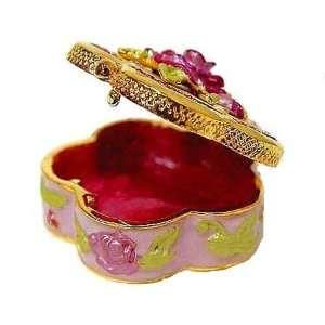 3D Quintuple Pink Rose Box Swarovski Crystals 24K Gold
