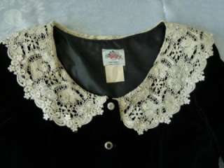 ORIGINAL Blck Velvet Button Gored Dress~Crochet Lace Collar~S/M