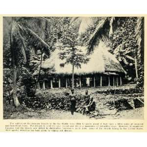 1931 Print Samoa Islands Native Indigenous People Hut