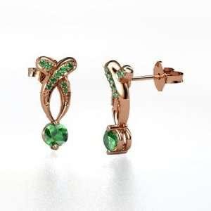 Paisley Drop Earrings, Round Emerald 14K Rose Gold Earrings Jewelry