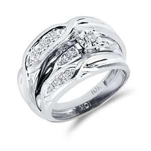 Diamond Engagement Rings Set Wedding Bands White Gold Men Ladies .12ct
