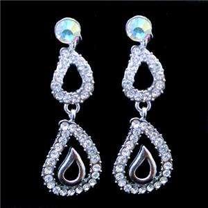 Posh Bridal Drop Necklace Earring Set Swarovski Crystal