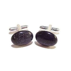 The Black Cat Jewellery Store Cufflinks   Blue Goldstone Jewelry