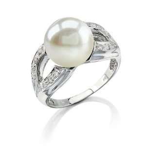 White Pearl & Diamond Princess Ring Jewelry