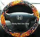 Car Steering Wheel Cover Orange Fire Flame Print NEW