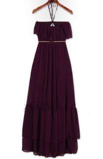 Womens Halter Strapless Pleated Chiffon Beach Wear Maxi Long Dress W