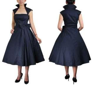 50s Black Retro Pleat Rockabilly Vintage Dress Sz 8 18
