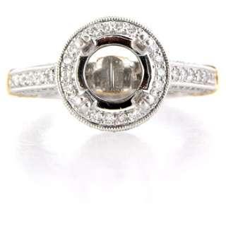 platinum 18k rose gold diamond antique style engagement ring setting