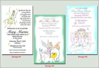 Custom Fairy Angel Pixie Birthday Party Invitations
