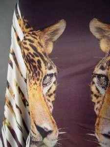 Animal Print Leopard Eye Rhinestone Avant Garde Batwing Sleeve Mini fp