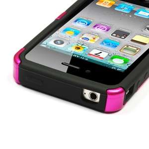 HOT PINK/BLACK Hybrid Fishbone Phone Snap On Cover Case for APPLE
