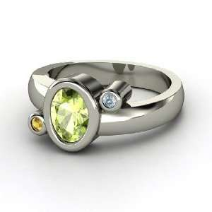 Planets Ring, Oval Peridot Sterling Silver Ring with