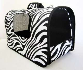 18L Pet Carrier Luggage Dog Cat Travel Bag Purse Zebra