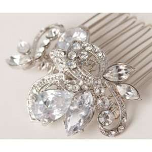 com Vintage Inspired Antique Silver and Rhinestone Small Bridal Hair