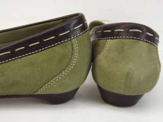 Womens shoes green leather Cole Haan 8 B loafer tassel dress