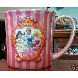 Disney Princesses Belle, Cinderella & Aurora Beveled 3 D Pink Striped
