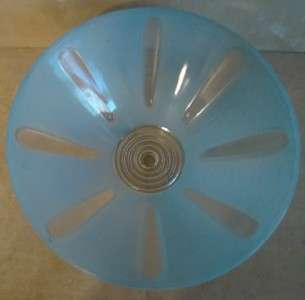 Art Deco Blue & Clear Glass Cone Shaped Ceiling Light Shade