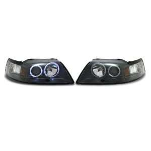 Halo Projector Headlights   Black 99 04 Ford Mustang