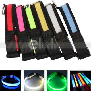 Lighting Safety Pet Dog Nylon Flat Collar 4 Size&6 Color