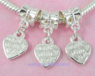 40pcs Silver Plated Heart Dangle Charms Fit Bracelet SY29
