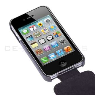 Black Stripe Flip Leather Case Cover Pouch For iPhone 4S 4