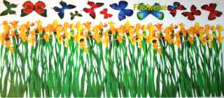XXL Butterflies Flowers Grass Wall Decor Sticker Decal
