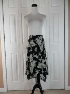 Loft Petites Size 10P Full Flowy Black Floral Print Skirt