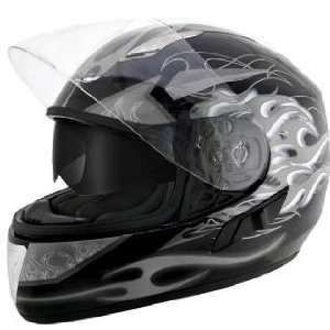 Advanced Dual Visor Flamma Grey Motorcycle Helmet Sz L