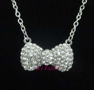 Kitty Silver Bow crystal pendant necklace chain xmas gift P18