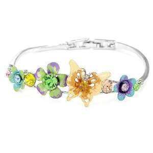 Perfect Gift   High Quality Elegant Flower Bangle with Multi colour
