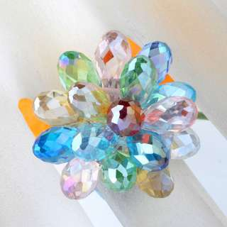 Crystal Glass Flower Cocktail Lady Ring 1 piece. A very good gift for