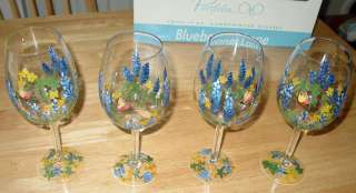 Texas Bluebonnets Hand Painted Collectible Art Wine Glasses   Set of
