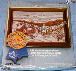Bucilla COUNTRY WINTER Picture Perfect Crewel Stitchery Kit